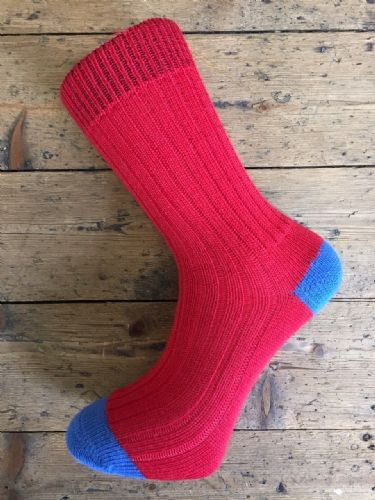 Men's Wool Socks - Red & Blue -  Machine Washable.